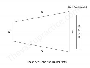 Plots which are broad in the front and narrow in the rear are called Shermukhi